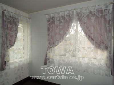 ラベンダー色のカーテン