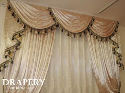 シャンパンゴールドのカーテン