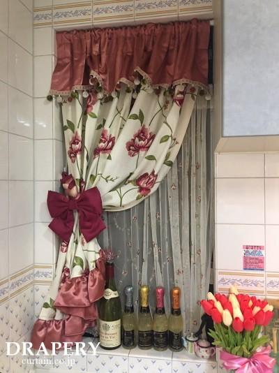 バラのカフェカーテン