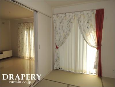 ボタニカル柄のカーテン