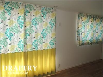 昆虫柄のカーテン